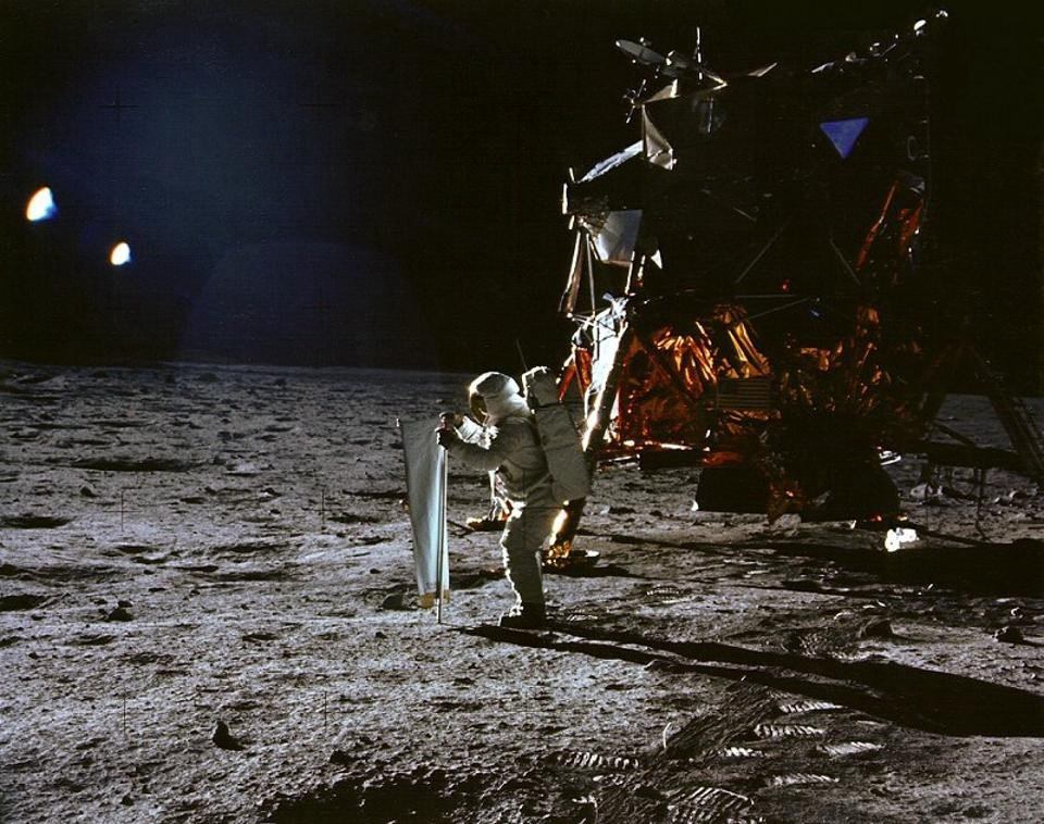 We also never would have had any of the Moon landings. This is Buzz Aldrin setting up the Solar Wind experiment as part of Apollo 11. Image credit: NASA / Apollo11.