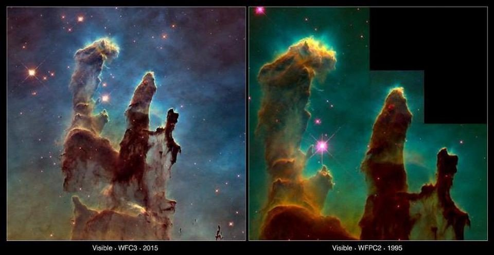 This image compares two views of the Eagle Nebula's Pillars of Creation taken with Hubble 20 years apart. The new image, on the left, captures almost exactly the same region as in the 1995, on the right. However, the newer image uses Hubble's Wide Field Camera 3, installed in 2009, to capture light from glowing oxygen, hydrogen, and sulphur with greater clarity. Having both images allows astronomers to study how the structure of the pillars is changing over time, and showcases one of the finest examples of what we can learn by doing astronomy in space. (WFC3: NASA, ESA/Hubble and the Hubble Heritage Team WFPC2: NASA, ESA/Hubble, STScI, J. Hester and P. Scowen (Arizona State University))