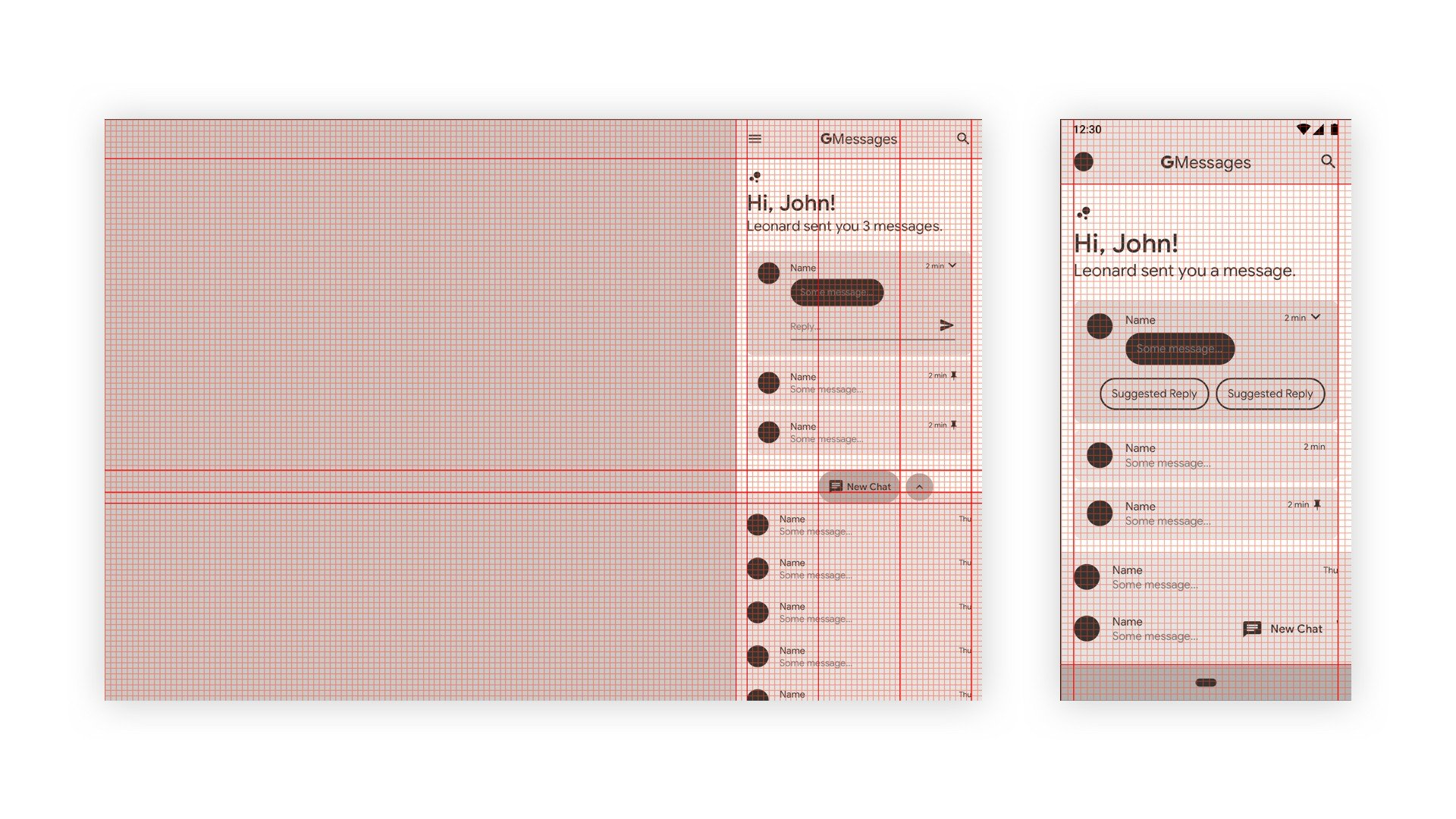 Both desktop and mobile align to an 8dp grid with 16dp margins.