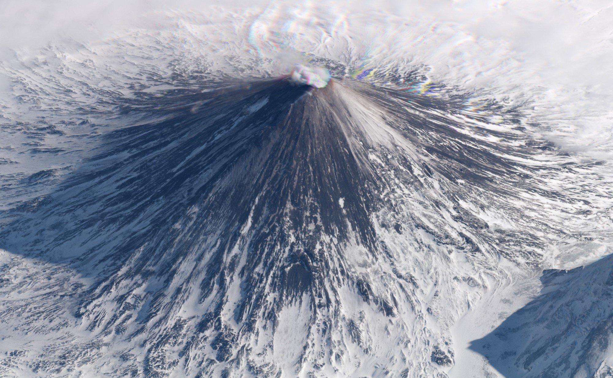 Klyuchevskaya Volcano, Russia. March 11, 2018. Image ©2018 Planet Labs, Inc. cc-by-sa4.0.