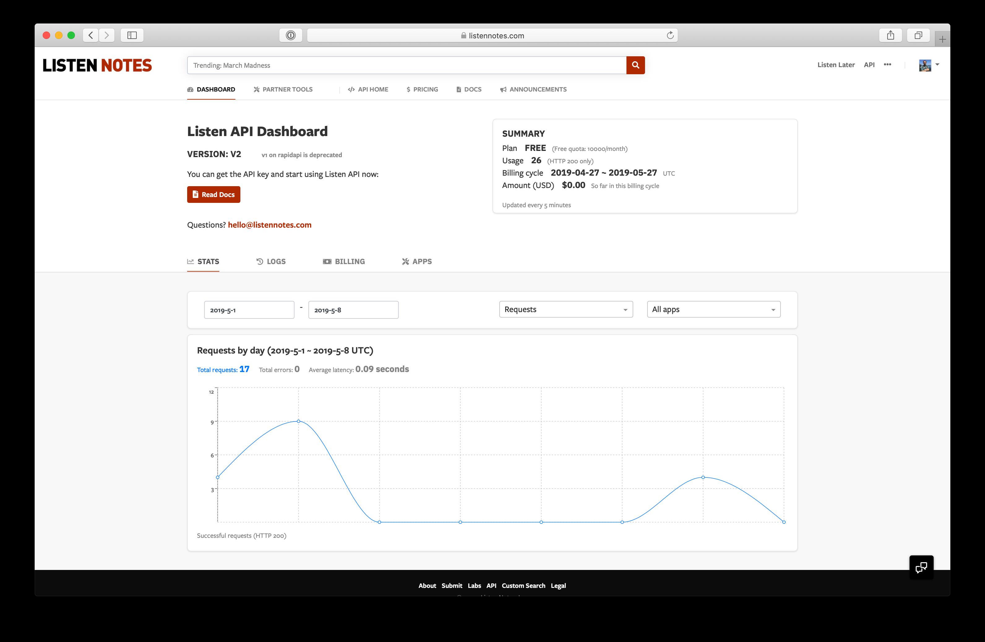 Listen API dashboard