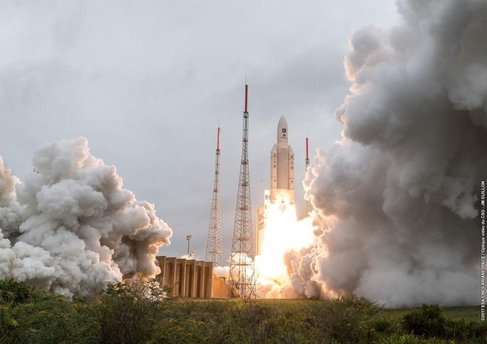 The December 12, 2017 liftoff of Ariane 5's 82nd consecutive successful mission from French Guiana. This flight, VA240, should be representative of what JWST sees when it launches in 2019. May it be successful; for space launches, we only get one chance.