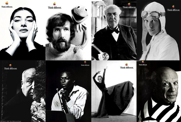 "Think Different campaign advertisements, Apple, 1997 to 2002. Apple's advertising campaign — Think Different — profiled artists, singers, civil rights leaders, and mathematicians instead of the typical devices and products. Steve Jobs is quoted by Walter Isaacson as saying: ""This wasn't about processor speed or memory. It was about creativity."" While the campaign promoted creativity and originality, it can also be interpreted as perpetuating the stereotype that innovation is a solo endeavor. Credit: © Apple."