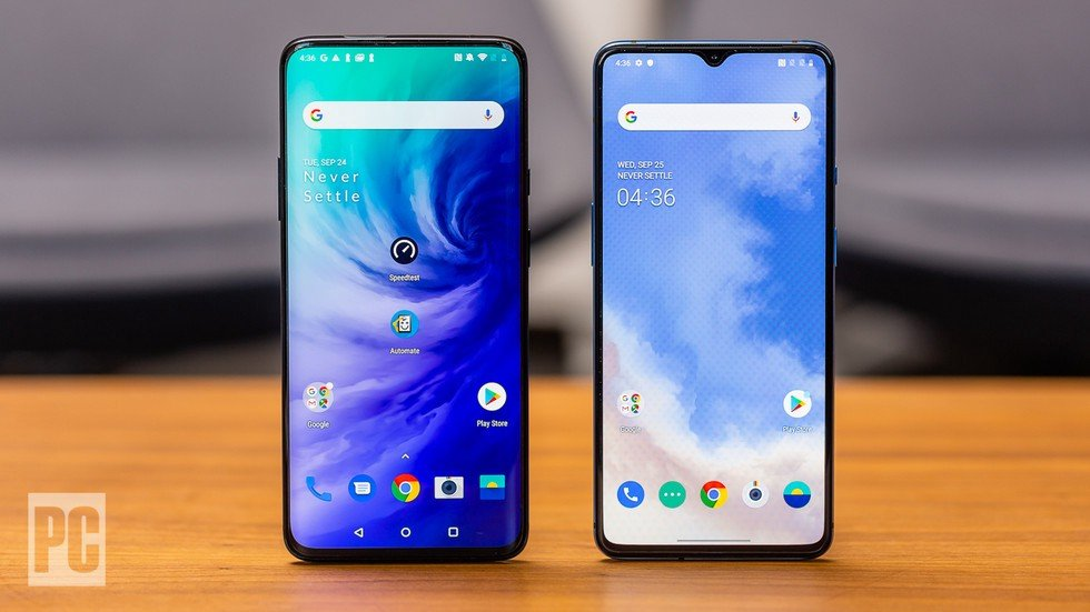 Left to right: OnePlus 7 Pro, OnePlus 7T