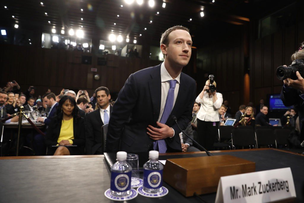 Facebook founder Mark Zuckerberg testifying before the Senate Judiciary Committee, April 18, 2018. Since 2006, Mark Zuckerberg, founder and CEO of Facebook, is often called to appear before Congress to address privacy and security concerns about his company's social media platform. Facebook's over two billion users check in on average 14 times per day and 60 percent of them get their news primarily from the platform's newsfeed. During the 2016 US presidential elections, Facebook accounts were manipulated by Russia to provoke anxiety and fear about certain candidates and social issues in the US. Credit: PBS NewsHour.