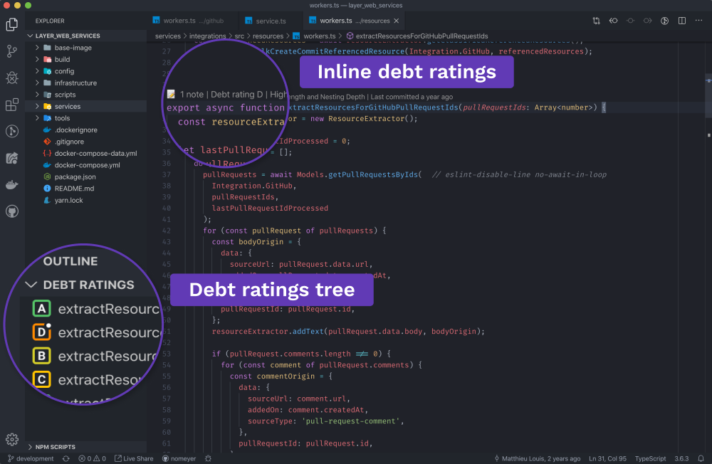 Preview of what tech debt tracker looks like in the code. Image from Tech Debt Tracker.