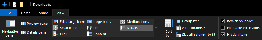 Windows 10 Ribbon bar