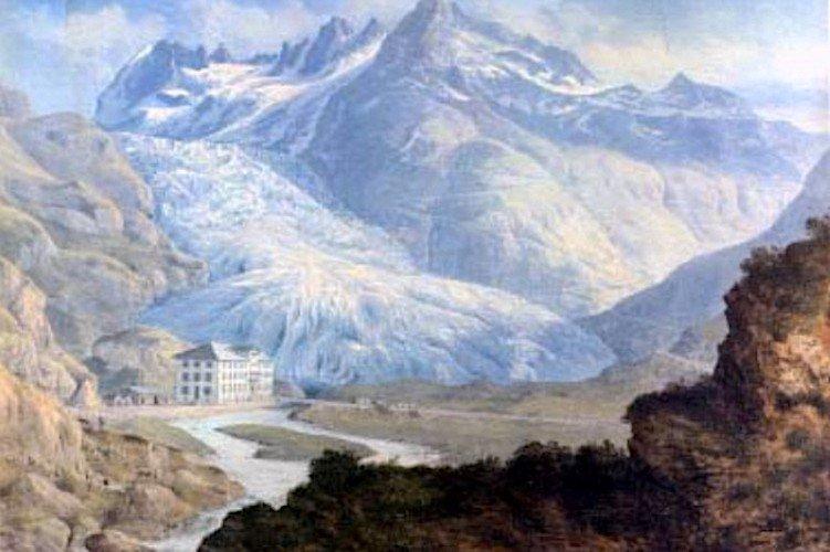 The Rhone Glacier in Switzerland at the end of the Little Ice Age. Source: Konrad Corradi