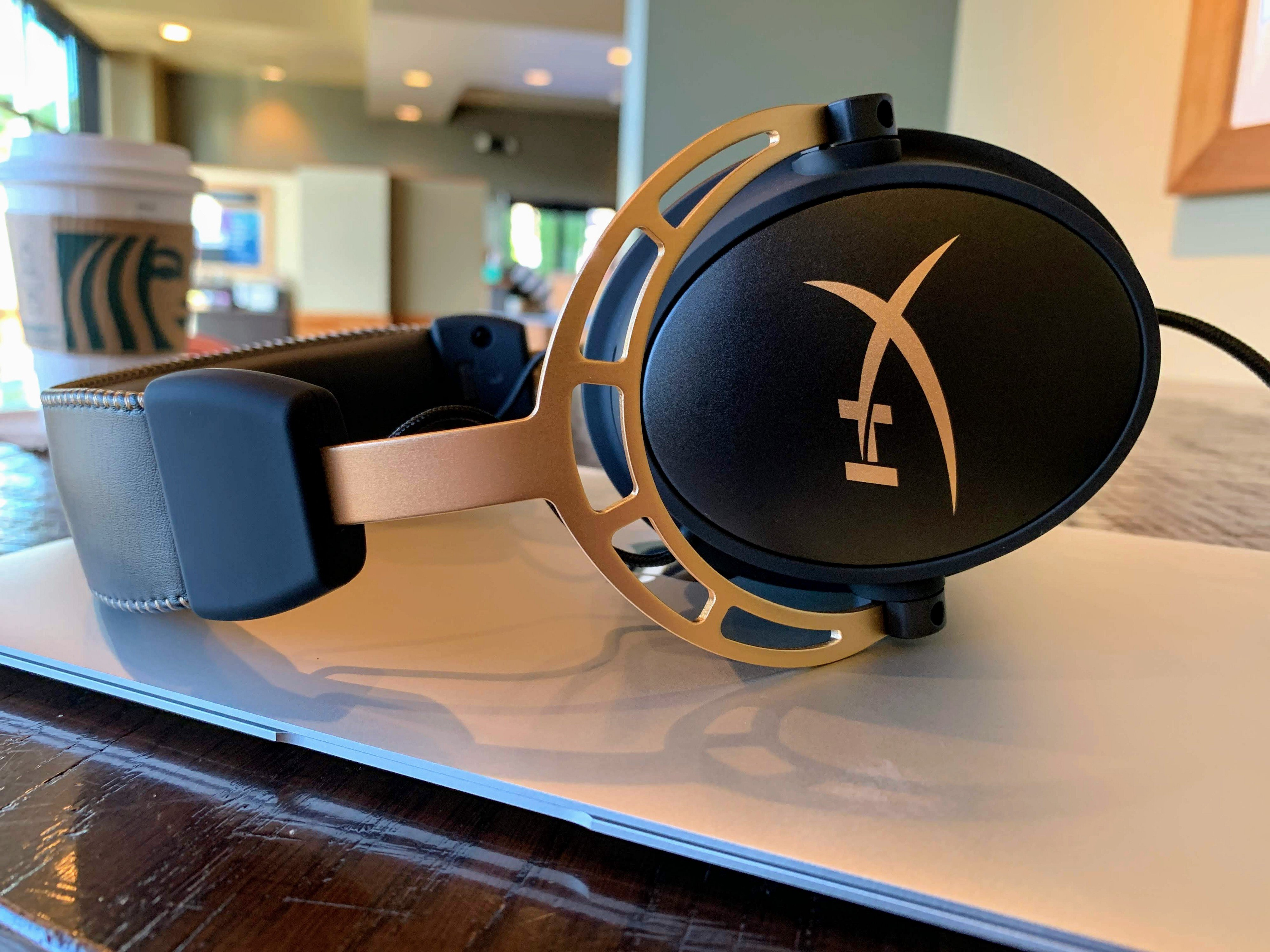 The HyperX Cloud Alpha, special gold color edition. Photo taken by Alex Rowe.